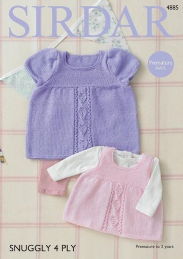 Sirdar Snuggly 4 Ply Baby Dresses Knitting Pattern, 4885